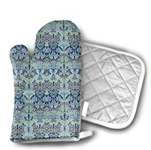 KEIOO William Morris Bluebell Columbine Oven Mitts and Potholders Heat Resistant Set of 2 Kitchen Set Non-Slip Grip Oven Gloves BBQ Cooking Baking Grilling