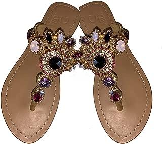 Gorgeous Jeweled Genuine Leather Shoes Pasha, Style Malibu Lavender/Gold