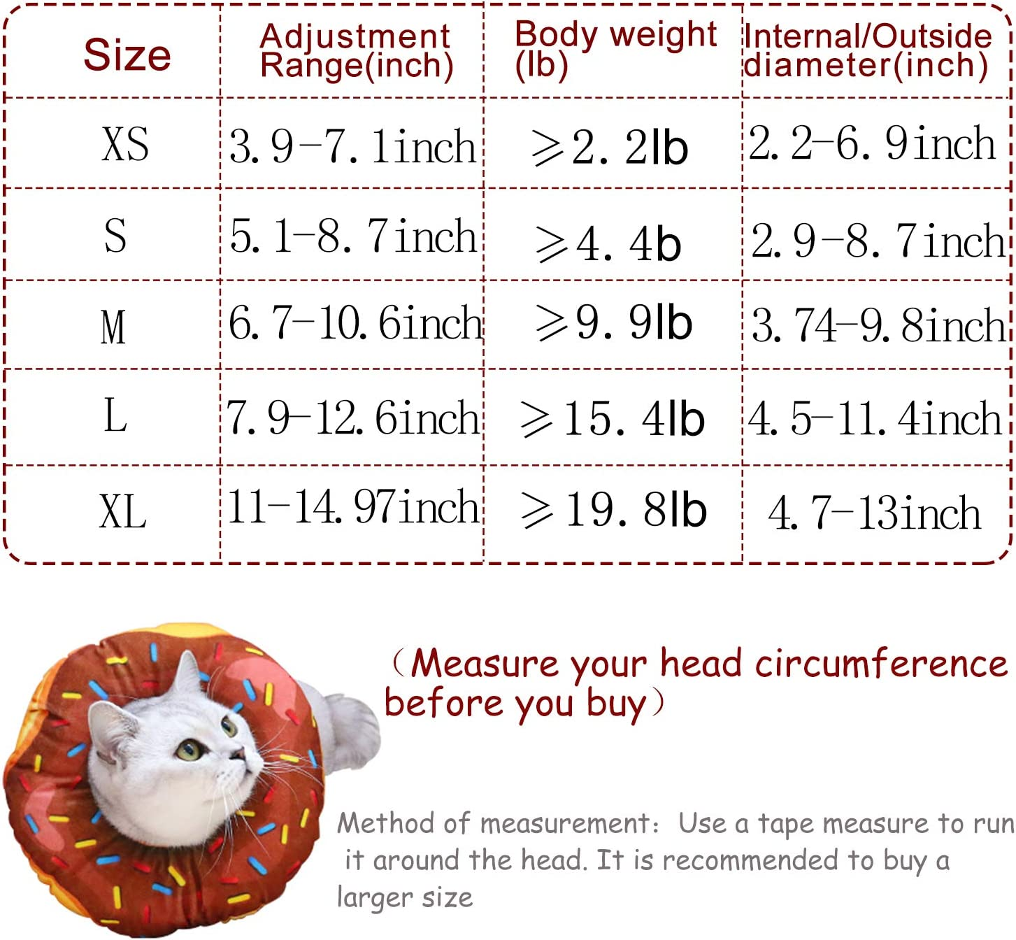 Small Breeds Dogs Puppies URBEST Cat Recovery Collar S, Brown Adjustable Protective Pet E Collar for Wound Healing for Cats Cute Donut Neck Cone After Surgery