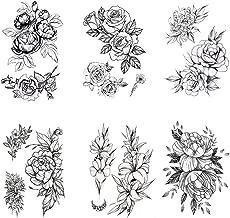 Black Rose Temporary Tattoos Flowers Tattoo Sticker Sexy Waterproof Fake Body Art - 6 Sheet