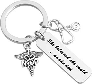 Nurse Practitioner Gift She Believed She Could So She Did Keychain NP Jewelry Nurse Keychain