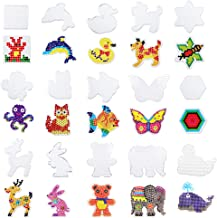 SKYCOOOOL 15 Pieces Fuse Beads Boards, Plastic Clear Animal Shape Template Bead Board for Kids Craft Beads