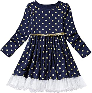Toddler Girl Polka Dotted Multilayer Ruffled Long Sleeve Tutu Party Dresses