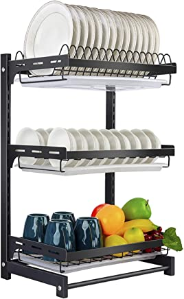 X-cosrack Dish Drying Rack Stainless Steel Dish Drainer with Drainboard for Plates Bowls Cups for Counter, Detachable, 3 Tier, Black