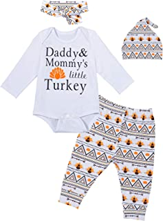 Baby Boys Girls Clothes 4PCS Thanksgiving Outfit Set Daddy Mommy's Little Turkey Cute Romper
