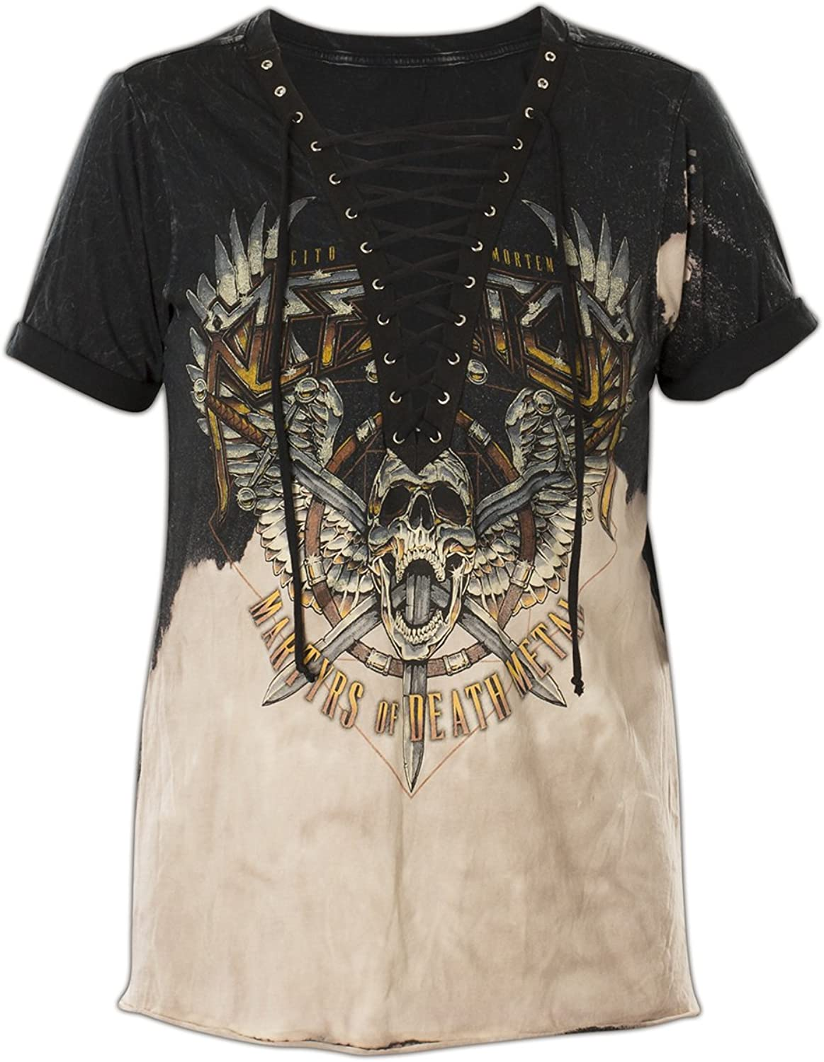 Affliction Setlist Short Sleeve Lace Up Fashion Graphic Top for Women