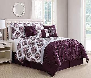 KingLinen 7 Piece Daria Wine/Gray Reversible Comforter Set Queen