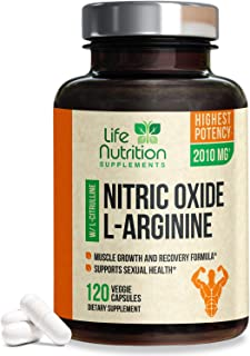 Extra Strength L Arginine Nitric Oxide Supplement 2010mg - Citrulline Malate, Aakg, Beta Alanine - Premium No Support for ...