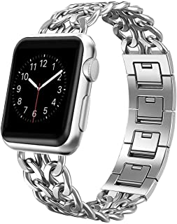 AmzAokay Replacement bands Compatible for Apple Watch 38mm 42mm Stainless Steel Metal Cowboy Chain Strap Wrist Band for Apple Watch 40mm 44mm Series 4 3 2 1 Sport and Edition(Silver, 38mm/40mm)