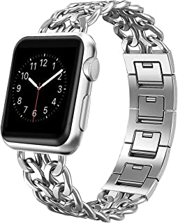 AmzAokay Replacement Bands Compatible for Apple Watch 38mm 42mm Stainless Steel Metal Cowboy Chain Strap Wrist Band for Apple Watch 40mm 44mm Series 5 4 3 2 1 Sport and Edition (Silver, 42mm/44mm)
