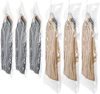 SunHorde Hanging Vacuum Storage Bags for Clothes, 6 Pack Space Saver Bags (3 Jumbo & 3 Large) for Dress, Winter Coat, Garment Storage Bags with Hanger, Double Color Zipper, Triple Seal Turbo-Valve