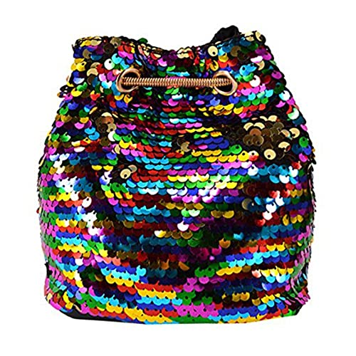 219ea34c212 Women Glitter Reversible Sequins Shoulder Bag Small Drawstring Bucket Bag  Chain Bag Handbag