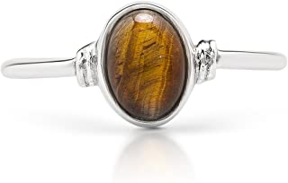 Koral Jewelry Oval Tiger Eye Stone Delicate Ring 925 Sterling Silver Vintage Tribal Gipsy Boho Chic US Size 5 6 7 8 9