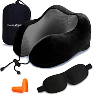 Power of Nature Pon Travel Pillow Luxury Memory Foam Neck & Head Support Pillow Soft Sleeping Rest Cushion for Airplane Car & Home Best Gift(Black)