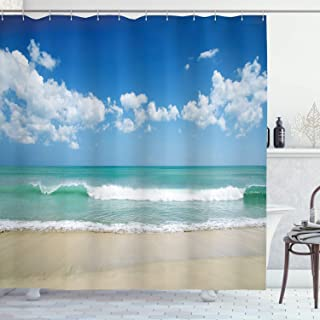 Ambesonne Wide Tap Shower Curtain by, Sandy Beach with Bright Skyline in the Island Coastal Charm Peaceful Print, Fabric Bathroom Decor Set with Hooks, 75 Inches Long, Turquoise Cream