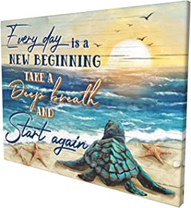 Drawpro Sea Turtle Wall Art Turtle Inspirational Canvas Print Paintings Framed Blue Ocean Pictures Modern Home Decor Gift For Women For Living Room Kitchen Bathroom Ready To Hang 12x16inch