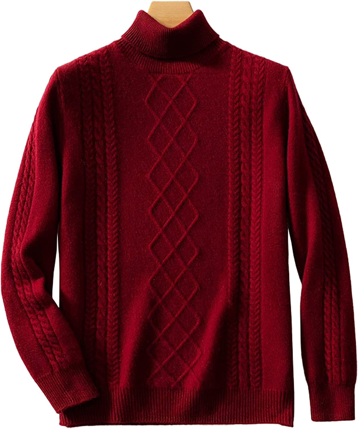 LZJDS Men's Turtleneck Cashmere Sweater Solid Color Twist Thicken Mid-Length Casual Pullover Outwear Daily