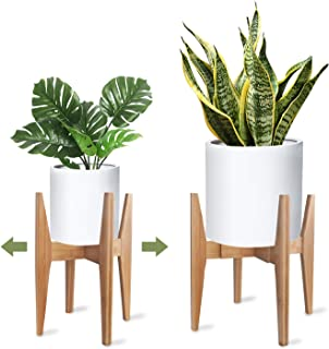 X-cosrack Adjustable Plant Stand Mid Century Wood Modern Flower Potted Holder Rack for Indoor Outdoor, Fit 8'' to 12'' Planter(Plant and Pot Not Included)