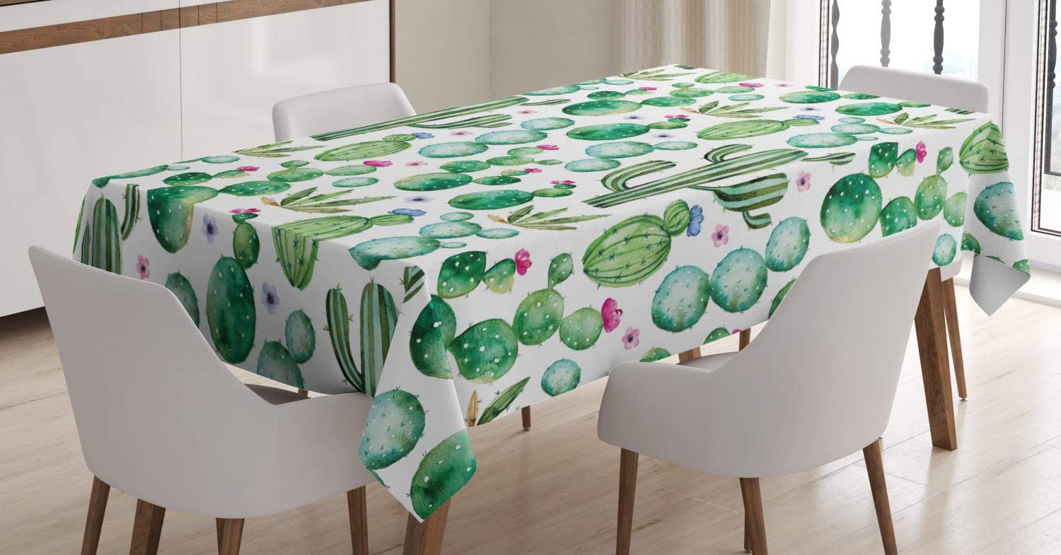 Ambesonne Mail order cheap Green Tablecloth Mexican Max 56% OFF Texas Cactus Spikes Plants C