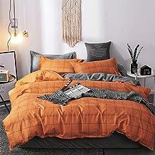 Nattey Simple Duvet Cover Set with Zipper Bedding Set (King, Orange Grid)