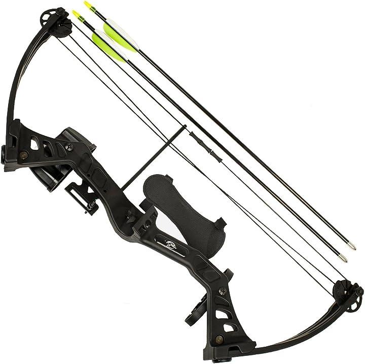 Arco compound 25 libbre con accessori 2 frecce per tiro bersaglio faretra kit area B01MAXY05Y