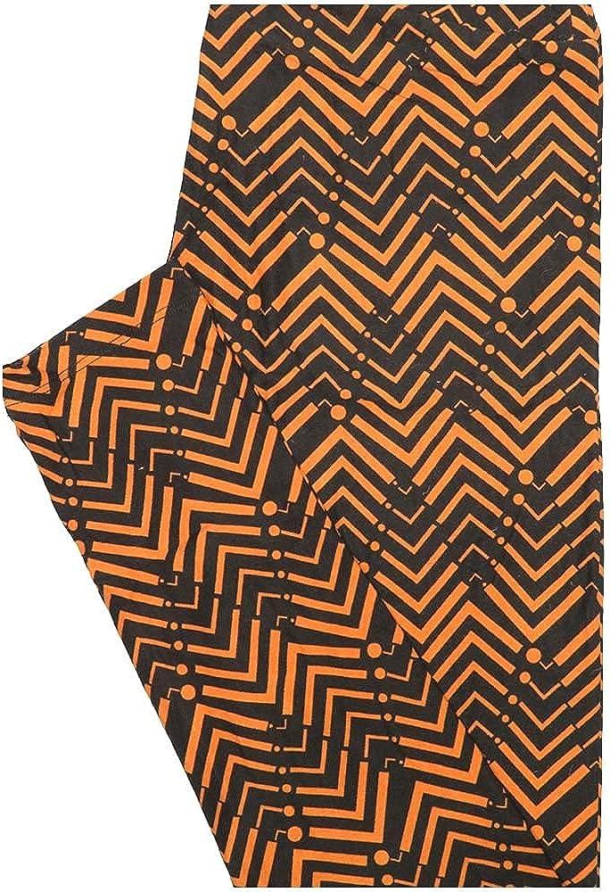 Lularoe One Size OS Zig Zag Stripe Orange Black Leggings (OS fits Adults 2-10)