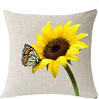 FELENIW You are My Sunshine Sun Yellow Sunflower Butterfly Throw Pillow Cover Cushion Case Cotton Linen Material Decorative 18