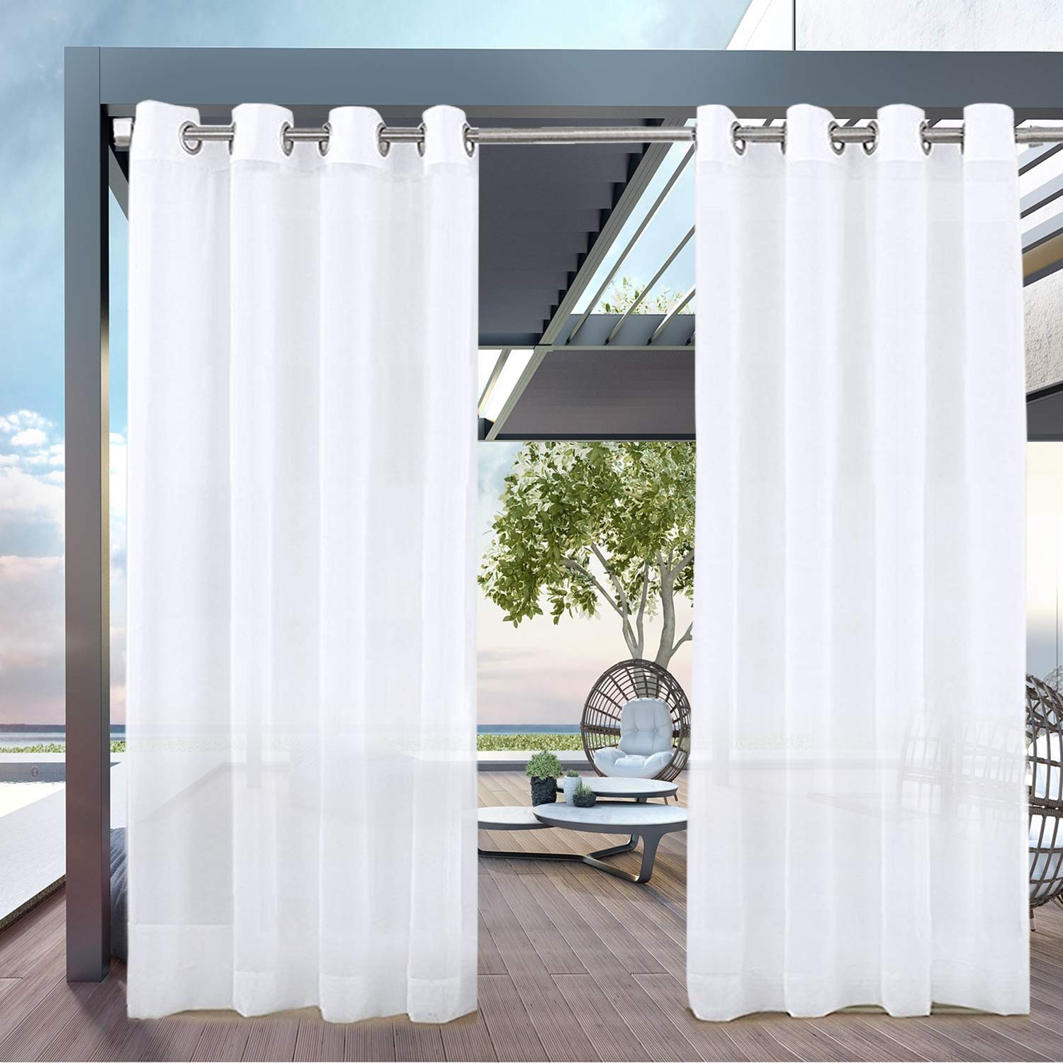 PRAVIVE Outdoor Sheer Curtains 10   Waterproof Grommet Indoor Outdoor  Curtains Patio Privacy White Sheer Drapes Blinds for Porch/Deck / Pergola,  W10 x ...