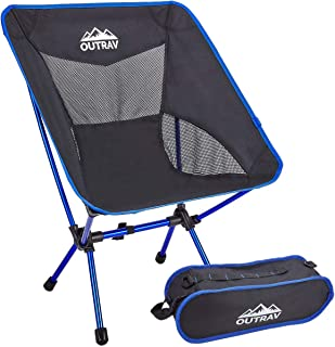 Outrav Portable Camping Chair, Lightweight Compact Folding Backpacking Chair, Heavy Duty 330lbs Capacity with Carry Bag, Breathable and Comfortable for Outdoor, BBQ, Hiking, Picnic, Fishing, Festival