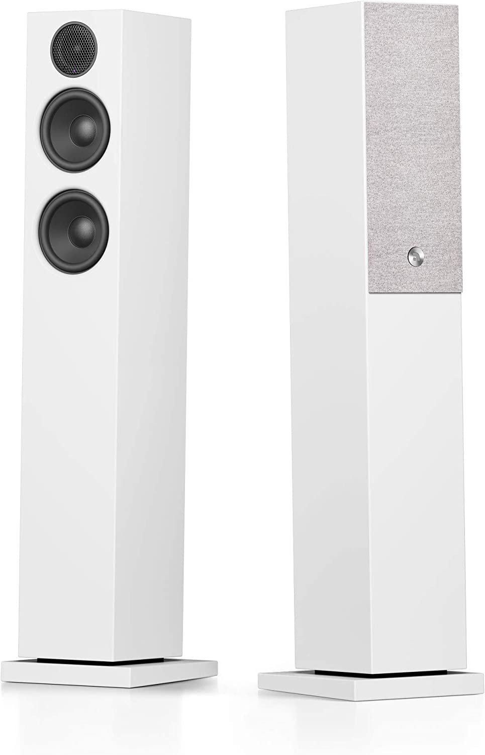 Audio Pro A36 HiFi Stereo Bluetooth WiFi Powered Wireless Multi-Room Home Theater Floor Standing Tower Speakers for Ultimate TV Sound Experience - Pair, White