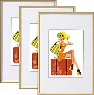 WOLTU Fotolijstjes Goud Set van 3,Schilderijlijsten Glazen ruit 28x35cm,BR9863gd-3