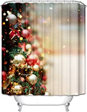 Epinki Polyester Shower Curtain Decorative Bathroom Accessories Red Green Decorated Christmas Tree Bathroom Curtain with 1...