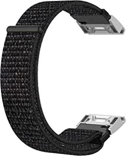 Funkid Nylon Wristband for Fenix 5X/Fenix 3/Fenix 3HR/Fenix 3 Sapphire/D2 Bravo/Quaitx3/Tactix Bravo,Comfortable and Breathable Replacement Watch Strap for Sport (Black)