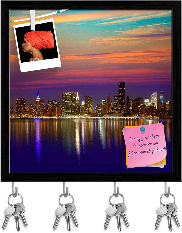 Artzfolio Manhattan New York City Skyline at Sunset, USA Key Holder Hooks   Notice Pin Board   Black Frame 20 X 20Inch