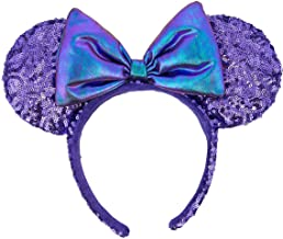 Disney Parks Potion Purple Sequin Irridescent Bow Mickey Minnie Mouse Ears Headband