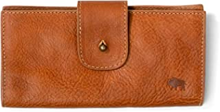 Rugged Mercantile Women's Leather Checkbook Wallet | Authentic Top Grain Cow Leather - Saddle Tan