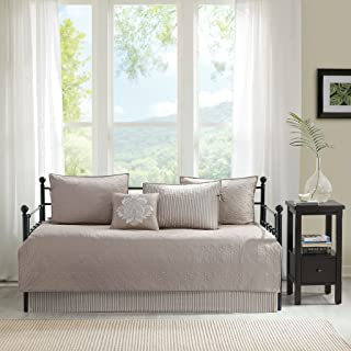 Madison Park Quebec Daybed Size Quilt Bedding Set - Khaki, Damask – 6 Piece Bedding Quilt Coverlets – Ultra Soft Microfiber Bed Quilts Quilted Coverlet
