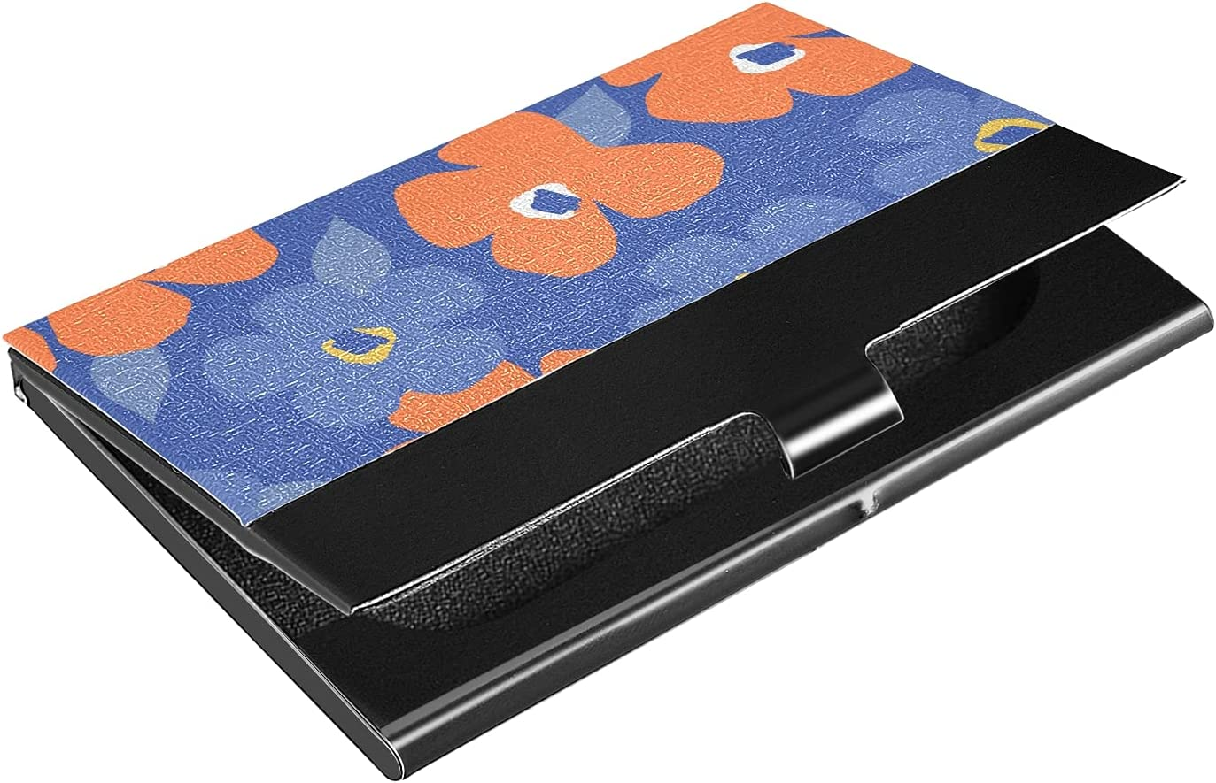 OTVEE Colorful Flower Business Card Holder Wallet Stainless Steel & Leather Pocket Business Card Case Organizer Slim Name Card ID Card Holders Credit Card Wallet Carrier Purse for Women Men