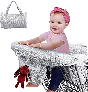 (Gray) - 2-in-1 Shopping Cart Cover and Highchair Cover for Baby, Large Size with Sippy Cup Holder, Cell Phone Storage, Sh...