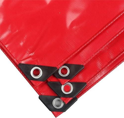 LIYFF- Rouge extérieur Ombre 100% imperméable à l'eau et UV prougeégé Heavy Duty Tarpaulin Voiture Bateau Toit Couverture de Pluie Camping Tente de remorque, Multi-Options de Taille