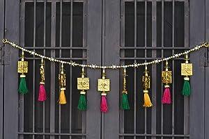 CraftVatika Toran Bandarwal for Main Door Wall Hanging Traditional Fancy Ganesha Toran Bandarwar for Temple Mandir Pooja Room Diwali Deepawali Decoration Diwali Gifts