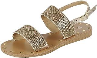 fe70d75c8d233a Cambridge Select Women s Studded Rhinestone Crystal Beaded 2 Strap Open Toe  Slingback Low Wedge Sandal