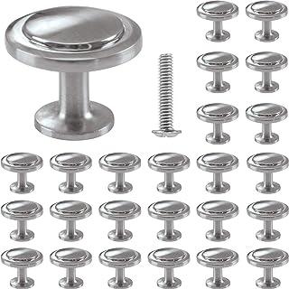 25 Ronda Pomo, Tiradores Muebles, para Gabinete, Cajón, armario, puerta armario, Plata