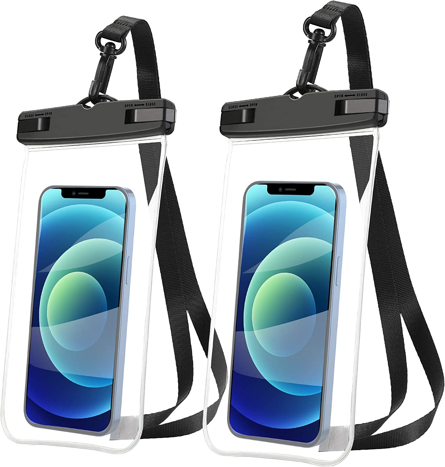 AINOYA Universal Waterproof Case 2 Pack, IPX8 Waterproof Phone Pouch Compatible with iPhone 12 Pro Max/Galaxy s21 Ultra/Pixel 5a /oneplus 9 pro up to 7