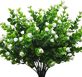 4 Pack Artificial Flowers Mini Rose Artificial Roses Fake Plants Artificial Greenery Shrubs Greenery for Window Box Home Office Wedding Party Indoor Garden Light Wedding Decor (White)