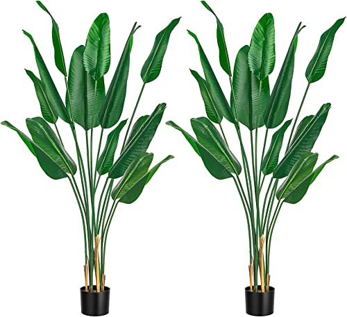 popular VIVOSUN 2-Pack 5FT Artificial Tree Bird of Paradise Plant Fake Tropical online Palm sale Tree Potted Plant for Indoor Outdoor Decor online sale