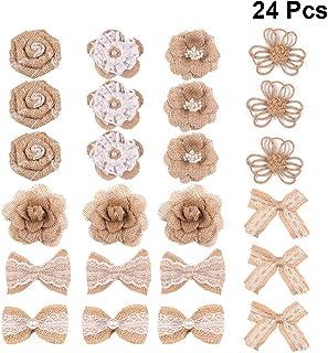 Amosfun 24 peças Flores de estopa Vintage Flores de estopa laço Rosa de estopa de renda para artesanato DIY Decoração de f...