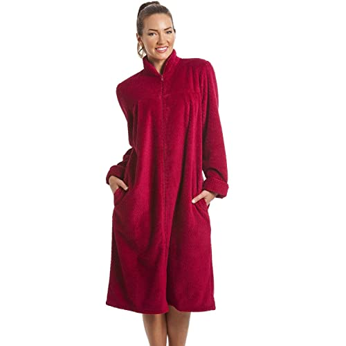 Camille Womens Zip or Button Front Dressing Gown House Coat 42f006326