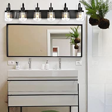 YAOHONG Bathroom Vanity Light Fixtures, 6-Light Farmhouse Vanity Light with Clear Glass Shades, Black Bathroom Lighting Fixtu