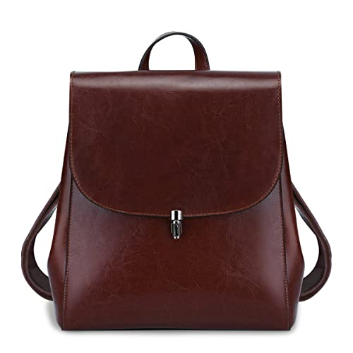 56656ad563 S-Zone Women Girls Ladies Leather Bag Purse Daily Casual Travel Small  Backpack (Coffee
